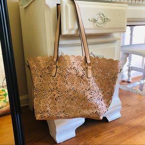 Aldo Blush Pink Floral Cutouts Tote Bag